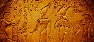 Naklejka Ancient Egypt hieroglyphics with pharaoh and ankh