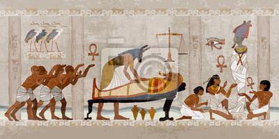 Naklejka Ancient Egypt. Mummification process. Concept of a next world. Anubis and pharaoh sarcophagus. Egyptian gods, mythology. Hieroglyphic carvings. History wall painting, tomb King Tutankhamun