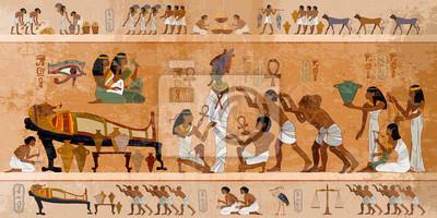 Naklejka Ancient Egypt. Mummification process. Concept of a next world. Pharaoh sarcophagus. Egyptian gods, mythology. Hieroglyphic carvings. History wall painting, tomb King Tutankhamun