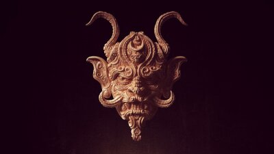 Naklejka Ancient Face Mask with Horns Wood Carving Halloween Art Sculpture 3d illustration render