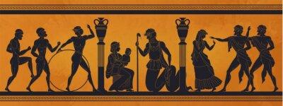 Naklejka Ancient Greece mythology. Antic history black silhouettes of people and gods on pottery. Vector archeology pattern mythological culture on ceramics illustration