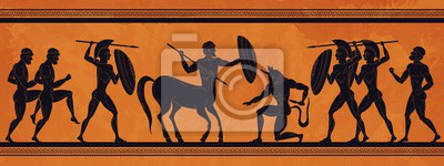 Naklejka Ancient Greece scene. Historic mythology silhouettes with gods and centaurs, figures and pattern for ancient amphora. Vector mythological image art ancients amphoras ornaments