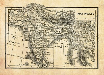 Naklejka Ancient map of British Empire in India or British Raj on the Indian subcontinent, formed by  India, Pakistan, and Bangladesh with geographical Italian names and descriptions