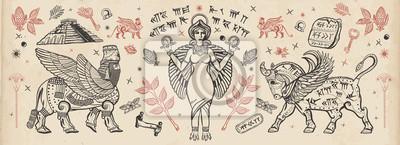 Naklejka Ancient Sumerian Civilization. Old school tattoo collection. Assyrian culture. Gilgamesh legends. Middle East history. Mesopotamian goddess. Ishtar and Lamassu. Cuneiform writing, ziggurat