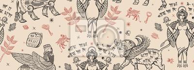 Naklejka Ancient Sumerian Civilization. Vintage seamless pattern. Old school tattoo style. Assyrian culture. Gilgamesh legends. Middle East history background. Mesopotamian goddess. Cuneiform writing, ziggurat