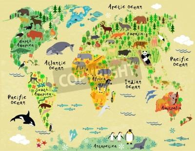 Naklejka Animal map of the world for children and kids
