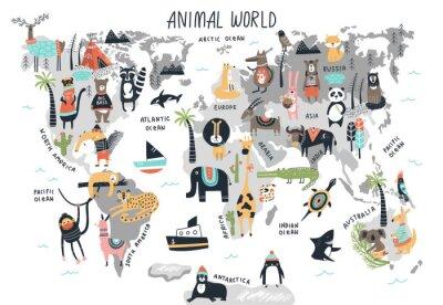 Naklejka Animal World Map - cute cartoon hand drawn nursery print in scandinavian style. Vector illustration