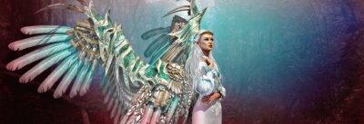 Naklejka Anioł 3D CG światło