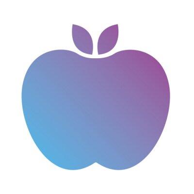 Naklejka apple fresh fruit gradient silhouette style
