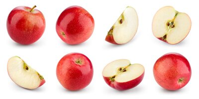Naklejka Apple isolated. Red apple on white background. Set of whole, half, slice red apples. Full depth of field.