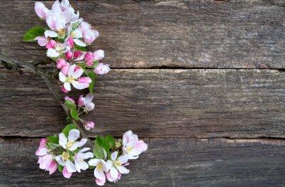 Naklejka Apple kwiaty na powierzchni drewnianych
