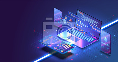 Naklejka Application of Smartphone with business graph and analytics data on isometric mobile phone. Analysis trends and software development coding process concept. Programming, testing cross platform code