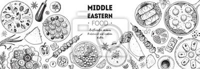 Naklejka Arabic food top view frame. Food menu design. Vintage hand drawn sketch vector illustration. Arabian cuisine frame. Middle eastern food.