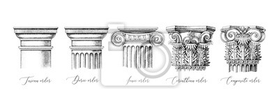 Naklejka Architectural orders. 5 types of classical capitals - tuscan, doric, ionic, corinthian and composite