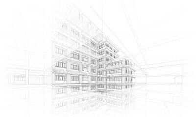 Naklejka Architecture background. Perspective 3d Wireframe of building design and model my own