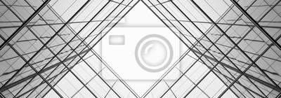 Naklejka architektura geometrii w szklanym oknie - monochromatyczny
