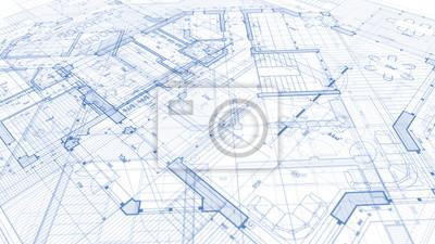 Naklejka Architektura projektu: plan plan - ilustracja planu nowoczesny budynek mieszkalny / technologia, przemysł, biznes ilustracja koncepcja: nieruchomości, budowa, budownictwo, architektura