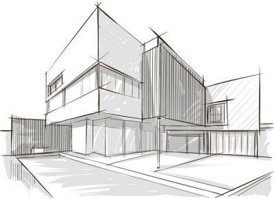 Naklejka Architektura szkic budynku