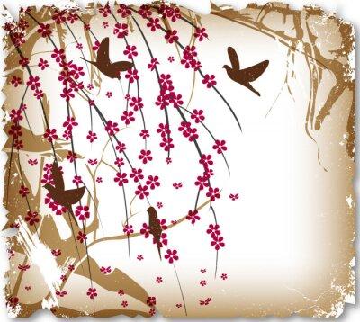 Naklejka Archiwalne karty, ptaki w ciernie