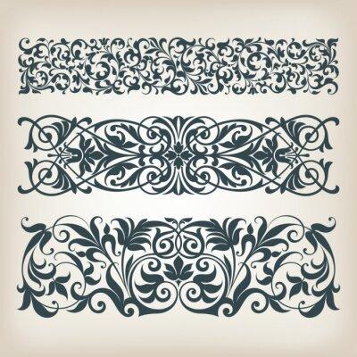 Naklejka archiwalne ramki granicy zestaw kaligrafii wektor ozdobny przewijać