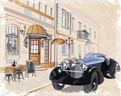 Naklejka Archiwalne tła z retro samochodu i muzyków, widokiem na Stare Miasto.
