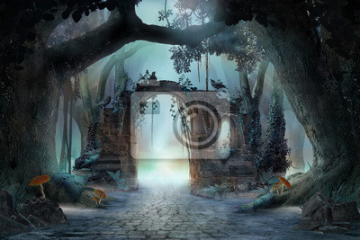 Naklejka Archway in an enchanted fairy forest landscape, misty dark mood, can be used as background
