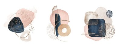 Naklejka Arrangements. Navy blue, blush, pink, ivory, beige watercolor Illustration and gold elements, on white background. Abstract modern print set. Logo. Wall art. Poster. Business card.