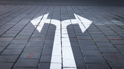 Naklejka Arrow symbol on forked road. Make choice which way to go