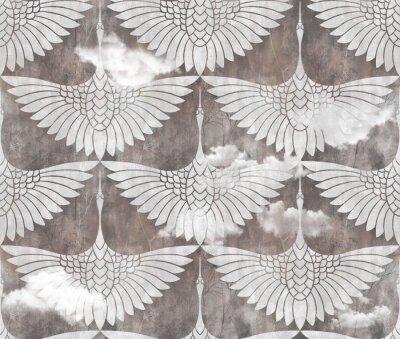 Naklejka art decor swans pattern