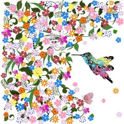 Naklejka Art grunge kwiatowy wzór z ptakiem