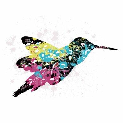 Naklejka Art. grunge wzór z ptakiem