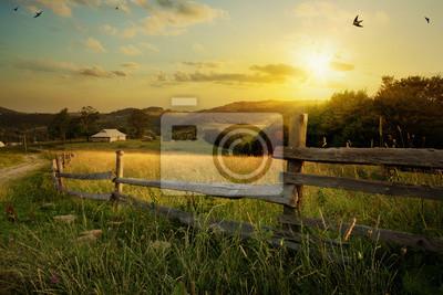 Naklejka Art krajobraz wsi; gospodarstwo wiejskie i pole pole