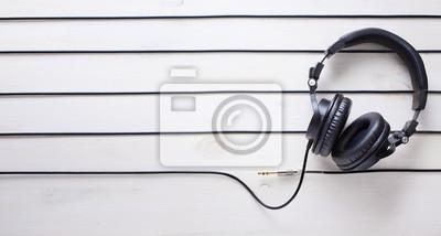 Naklejka Art studio muzyczne tło z DJ Headphones