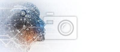 Naklejka Artificial intelligence. Technology web background. Virtual concept