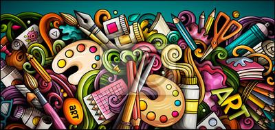 Naklejka Artist hand drawn doodle banner. Cartoon detailed illustrations.