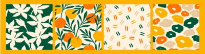 Naklejka Artistic seamless pattern with abstract flowers and oranges.