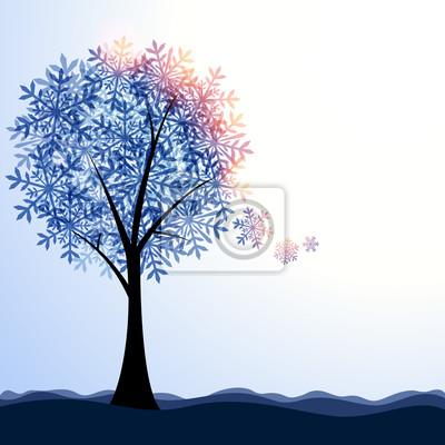 Naklejka Artystyczny krajobraz zimowy