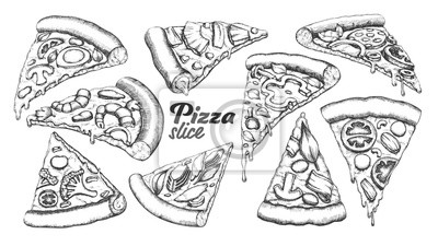 Naklejka Assortment Different Slice Pizza Set Ink Vector. Collection Slice Cheese Pizza With Ingredients Mushroom And Shrimp Prawn, Tomatoes And Onion Concept. Designed Template Black And White Illustrations