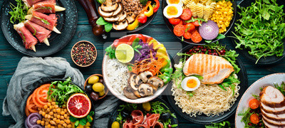 Naklejka Assortment of healthy food dishes. Top view. Free space for your text.