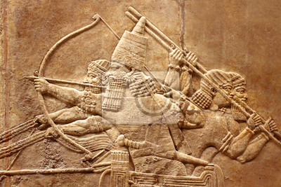 Naklejka Assyrian relief on the wall