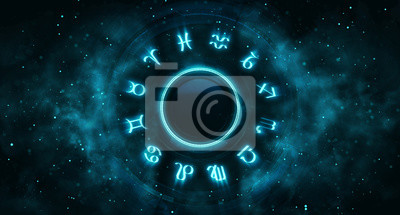 Naklejka Astrological system with zodiac symbols and particles around. Horoscope background digital illustration.