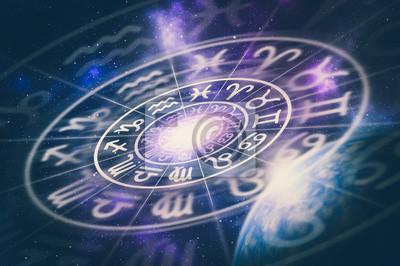 Naklejka Astrological zodiac signs inside of horoscope circle
