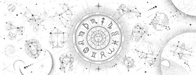 Naklejka Astrology wheel with zodiac signs on constellation map background. Realistic illustration of  zodiac signs. Horoscope vector illustration