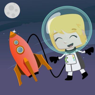 Naklejka astronauta dziewczyna wektor pływające w przestrzeni