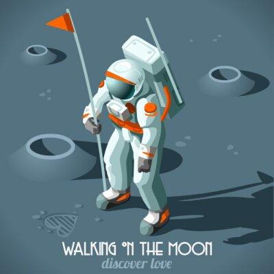 Naklejka Astronauta Księżyc Landing izometryczny