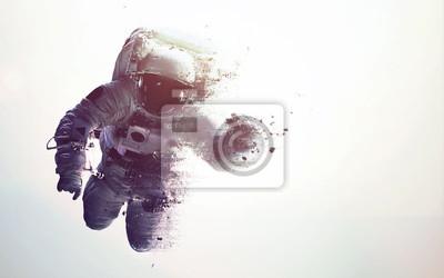 Naklejka Astronauta w przestrzeni kosmicznej nowoczesnej sztuki minimalistycznej. Dualtone, anaglyph. Elementy tego zdjęcia dostarczone przez NASA