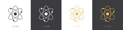 Naklejka Atom logos set isolated on white background. Structure of the nucleus of the atom. Around the atom, gamma waves, protons, neutrons and electrons. Vector illustration