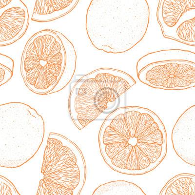 Naklejka Atrament ręka rysujący bezszwowy wzór pomarańczowa owoc. Kolekcja elementów żywności. Vintage szkic. Czarny kontur.