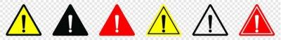Naklejka Attention caution danger sign, Exclamation mark sign, Triangular warning symbols icon set, warning sign, Vector illustration