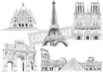 Naklejka Attractions of Paris, France